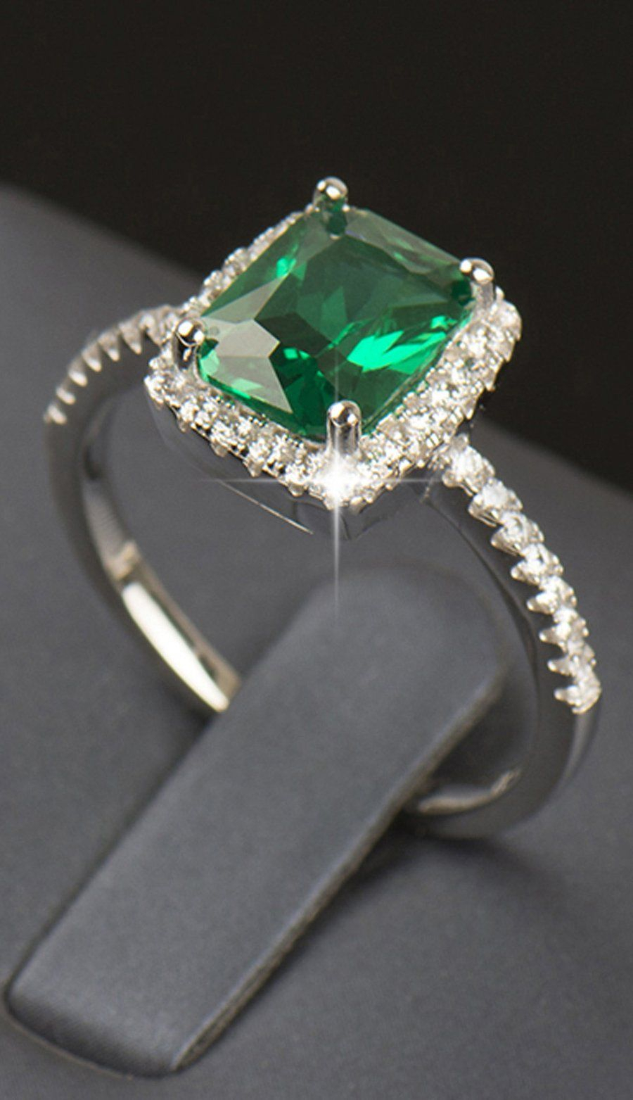 Patty Luxury Created Deep Emerald Green Crystal Cushion Cut With 2017 Square Sparkle Halo Rings (View 10 of 25)