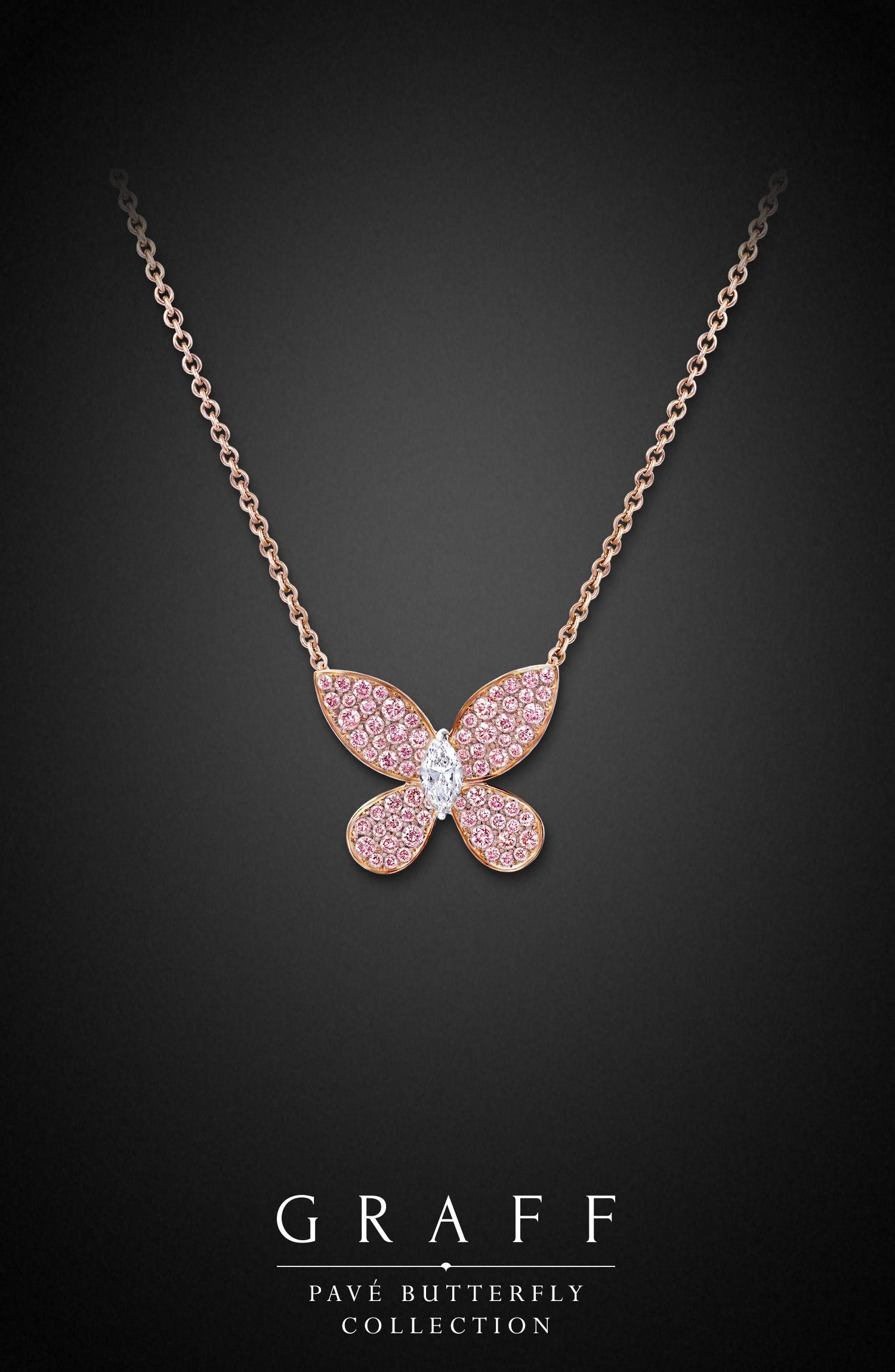 Pavé Butterfly Pendant | Graff Diamonds | Diamond, Diamond Pendant Throughout 2020 Pink Pavé Butterfly Collier Necklaces (View 2 of 25)
