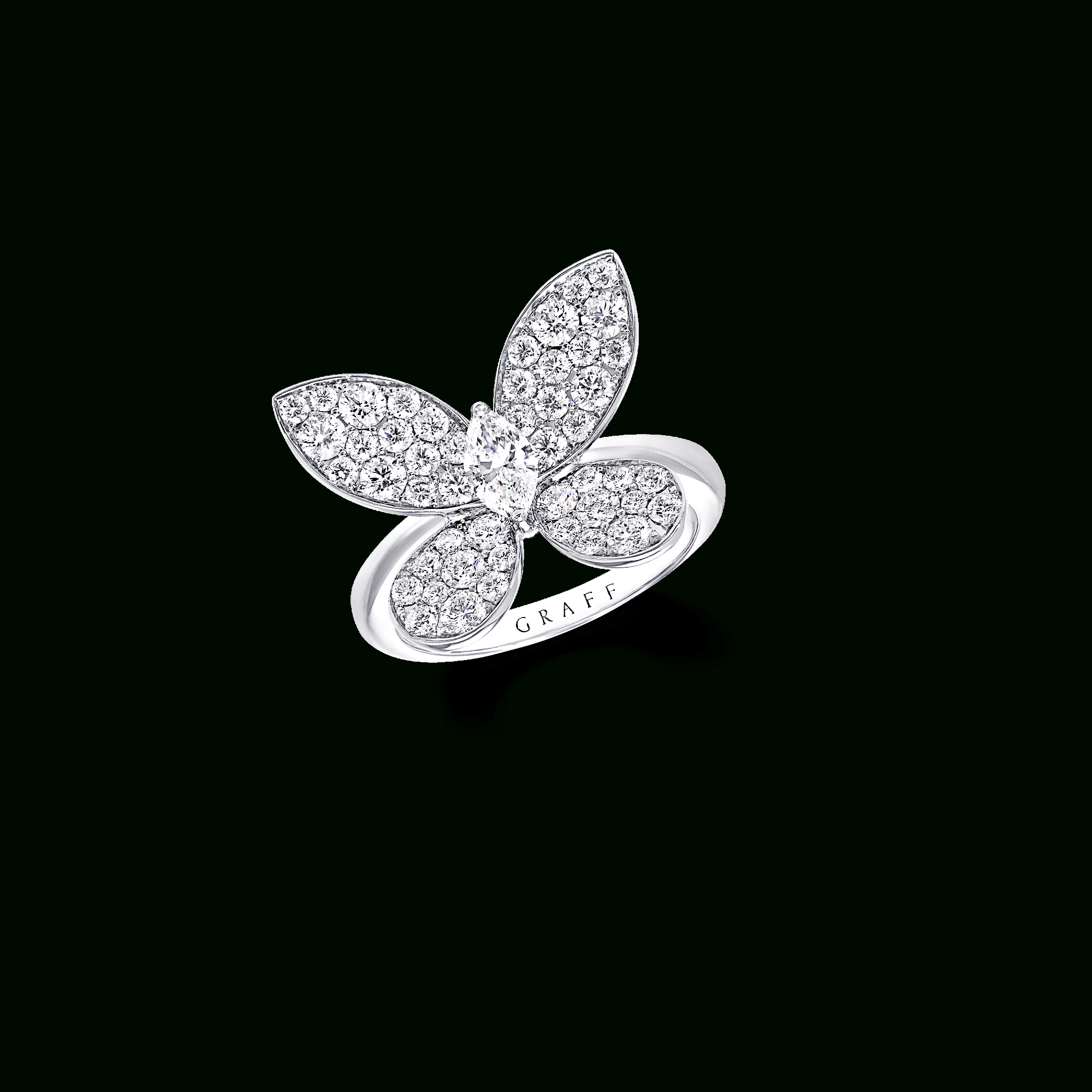 Pavé Butterfly Ring, Diamond | Graff Pertaining To Most Popular Sparkling Butterfly Open Rings (Gallery 10 of 25)
