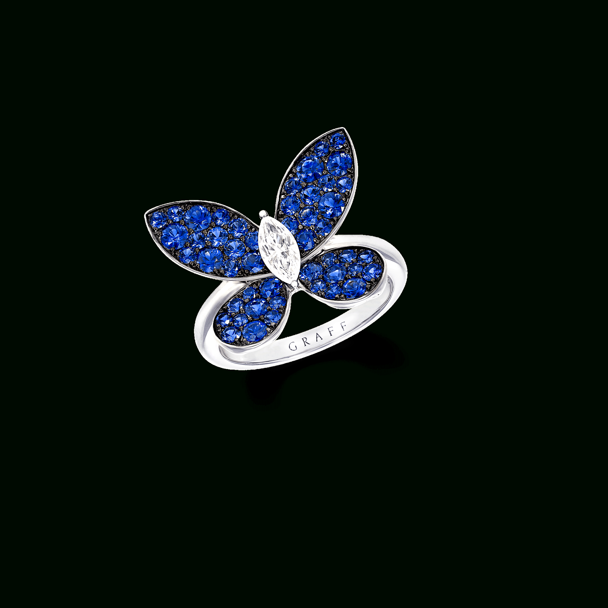 Pavé Butterfly Ring, Sapphire And Diamond | Graff In Latest Blue Pavé Butterfly Brooch Necklaces (View 3 of 25)