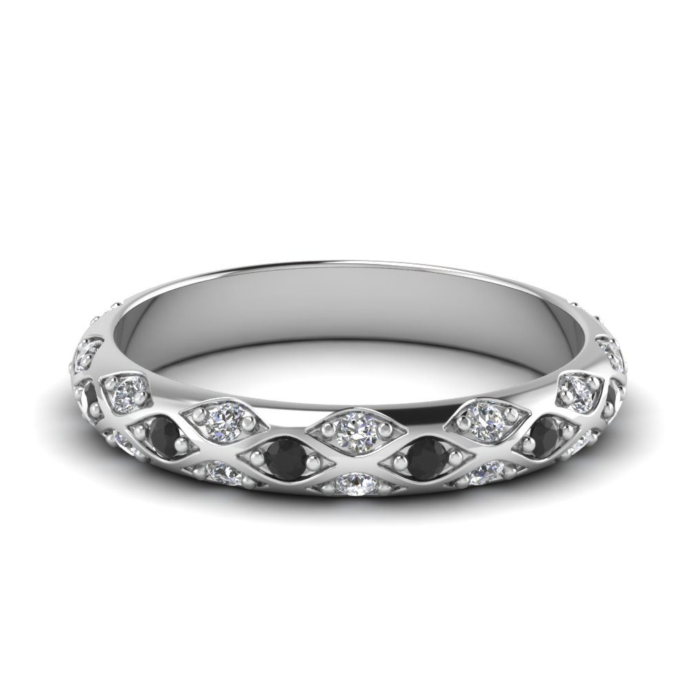 Pave Cross Diamond Wedding Band In Most Current Diamond Linear Anniversary Bands In White Gold (View 8 of 25)