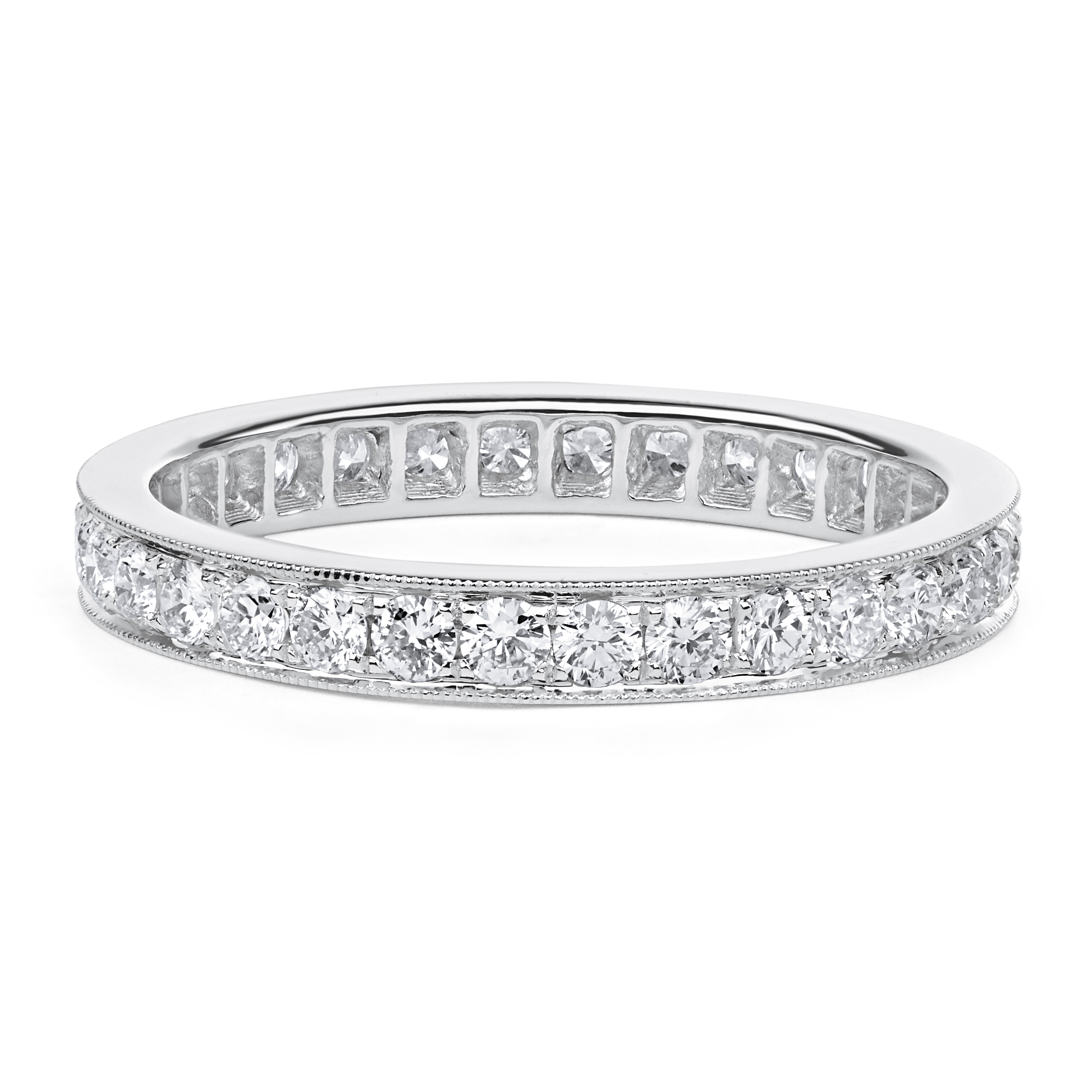 Pavé Diamond Eternity Wedding Ring With Milgrian In 18K White Gold ( (View 19 of 25)