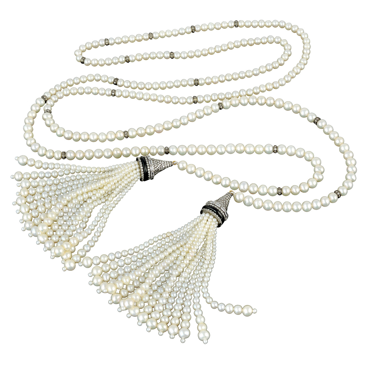 Pave Diamond Onyx Sapphire Pearl Beads Lariat Tassel Necklace 18kt In Current Beads & Pavé Necklaces (View 8 of 25)