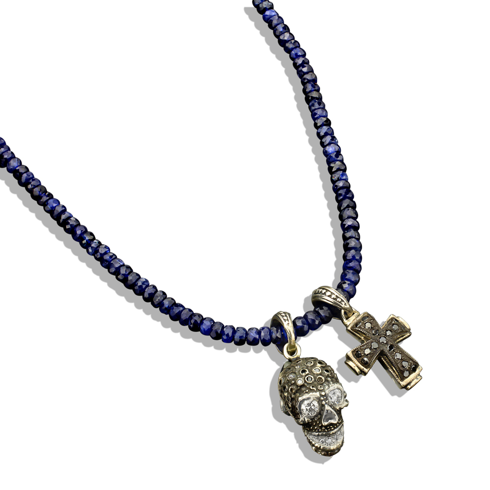 Pave Diamond Skull & Cross On Faceted Sapphire Bead Necklace Throughout Most Popular Beads & Pavé Necklaces (View 11 of 25)