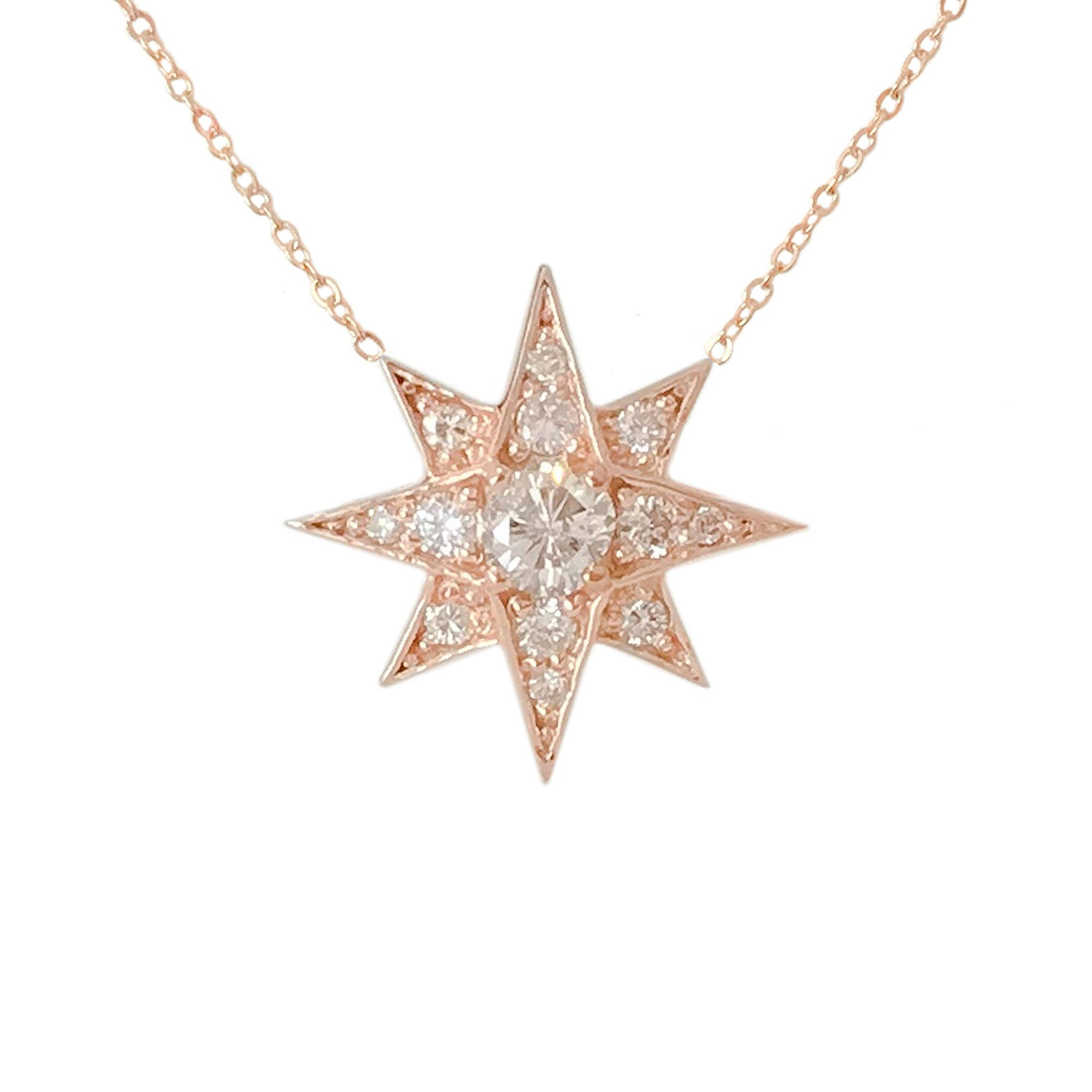 Pavé Diamond Starburst 14k Solid Gold Polaris Star Large Size Charm Pendant Necklace (real Natural Diamonds North Star Compass Symbol Charm) Within Most Recently Released Pavé Star Locket Element Necklaces (Gallery 5 of 25)