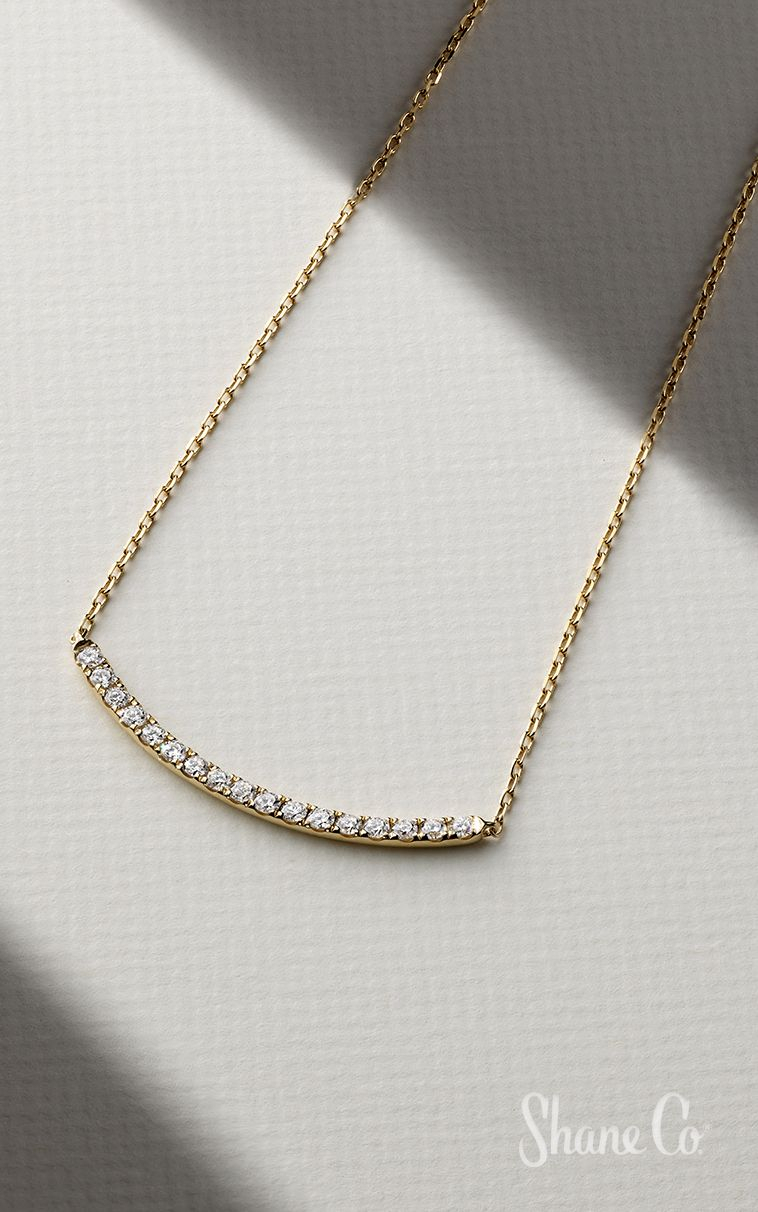 Pave Set Diamond Curved Bar Necklace (18 In) | Dazzling Diamonds In In 2020 Sparkling Curved Bar Necklaces (View 3 of 25)