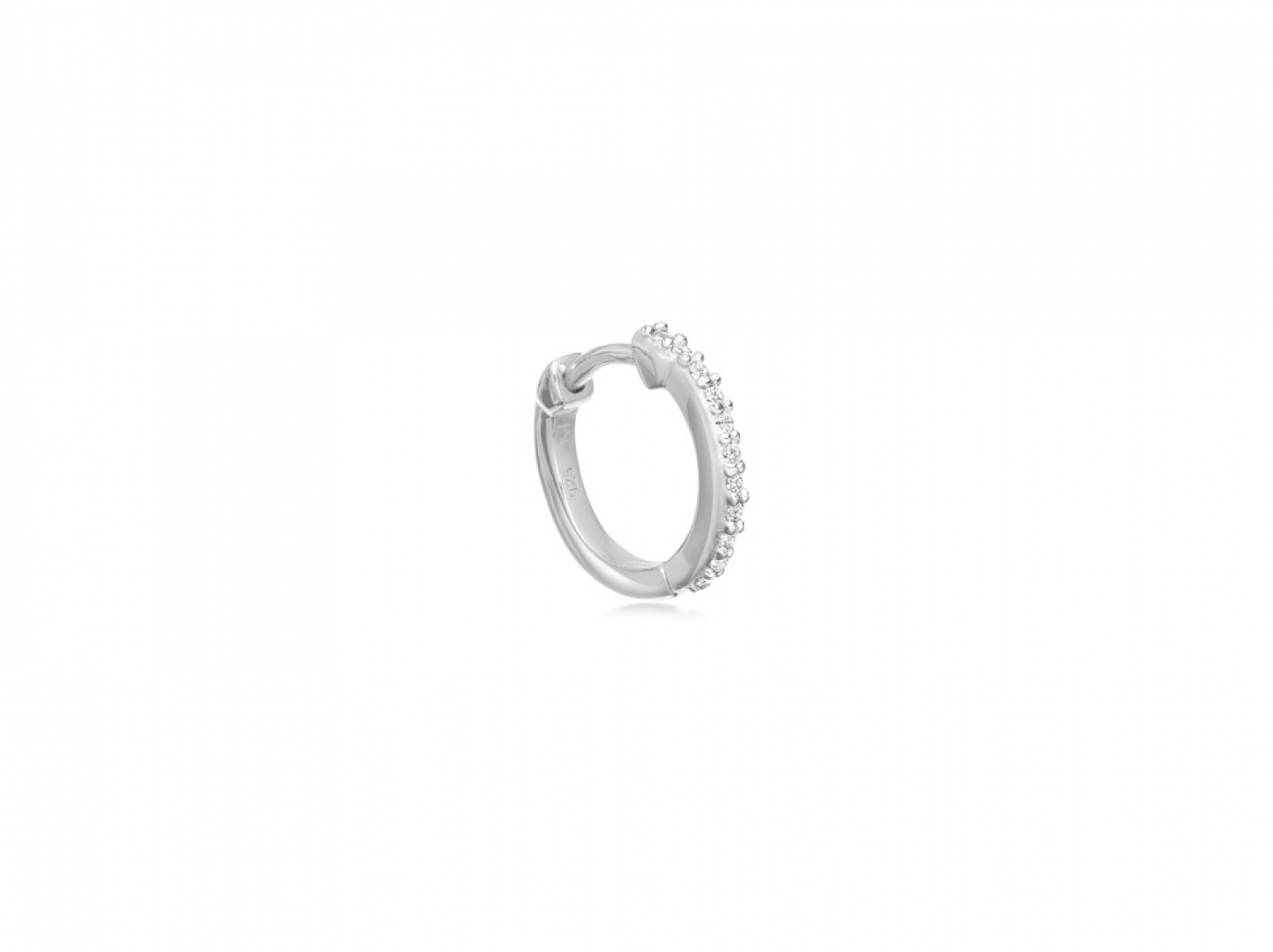 Pave Silver Single Huggie Regarding Best And Newest Polished & Pavé Bead Open Rings (View 21 of 25)