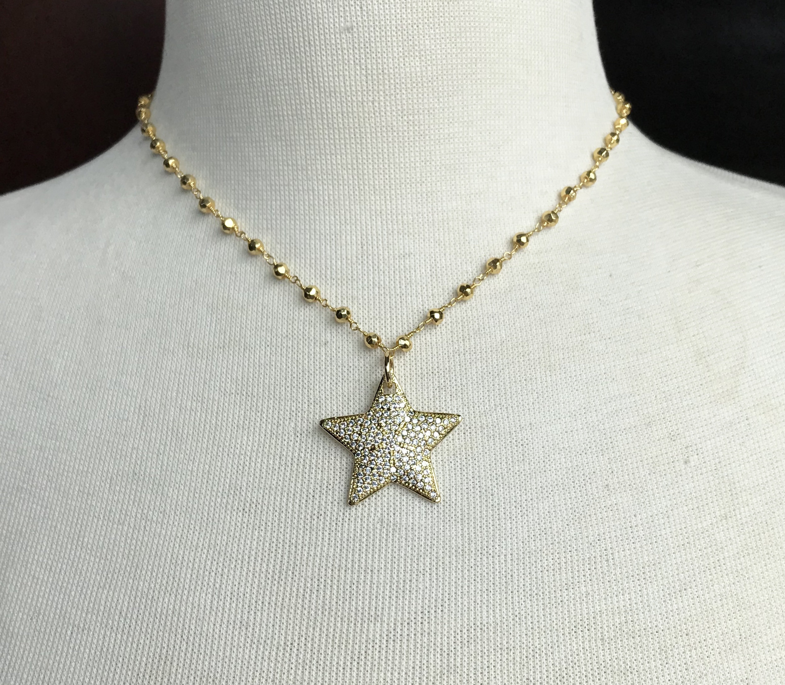 Pave White Crystal Gold Star On Gold Plated Pyrite Beaded Chain Necklace Inside Most Up To Date Pavé Star Locket Element Necklaces (Gallery 24 of 25)