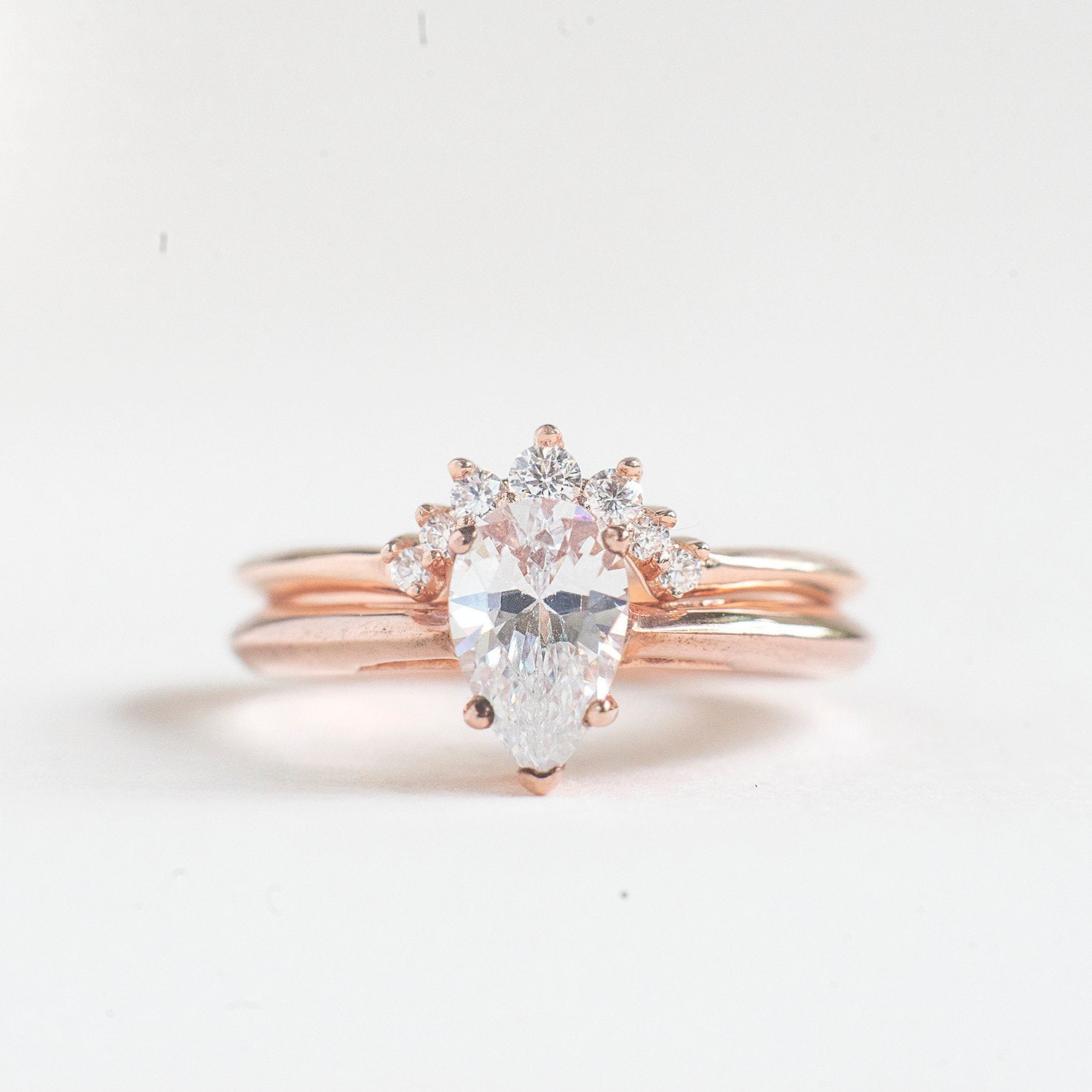 "Pear Engagement Ring Set – Rose Gold Plated Pear Shaped Ring Set – Sterling Silver Wedding Ring Set – Teardrop Ring – Wedding Ring – A69 Regarding Best And Newest Diamond Seven Stone ""x"" Anniversary Bands In Sterling Silver And Rose Gold (View 11 of 25)"