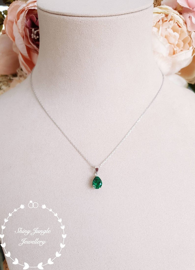 Pear Shaped Emerald Necklace, May Birthstone Pendant, Pear Cut Lab Emerald Pendant, Teardrop Emerald Pendant, Bridal Pendant, Vivid Green Inside Most Current Royal Green May Birthstone Locket Element Necklaces (View 7 of 25)
