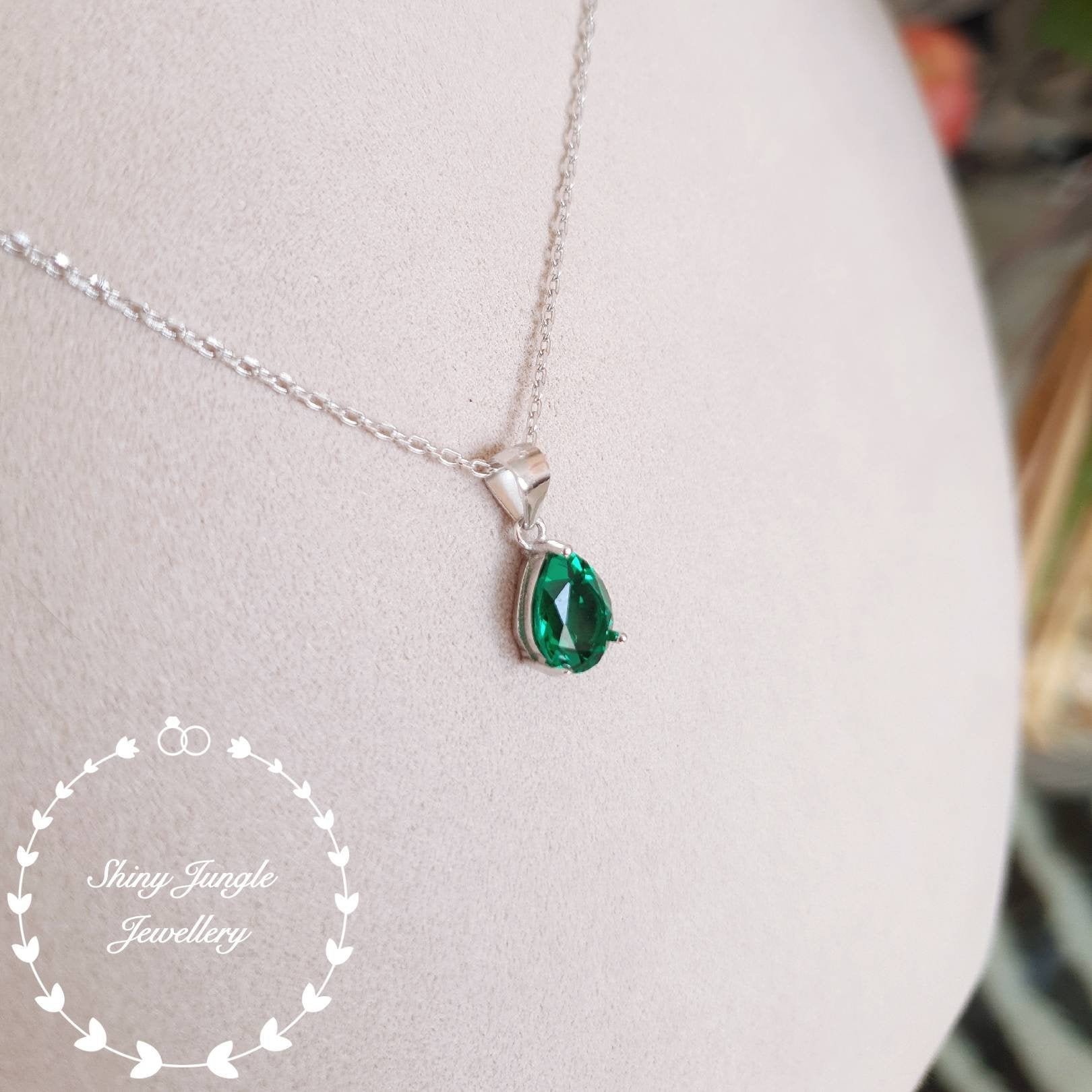 Pear Shaped Emerald Necklace, May Birthstone Pendant, Pear Cut Lab Regarding Newest Royal Green May Birthstone Locket Element Necklaces (View 3 of 25)