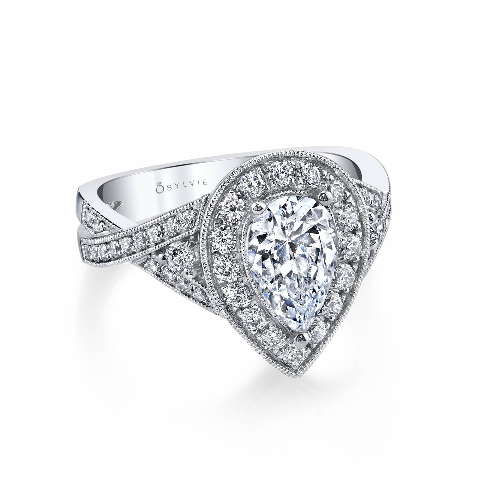 Pear Shaped Engagement Rings | Pear Shaped Diamond Ring Within Newest Classic Teardrop Halo Rings (View 18 of 25)
