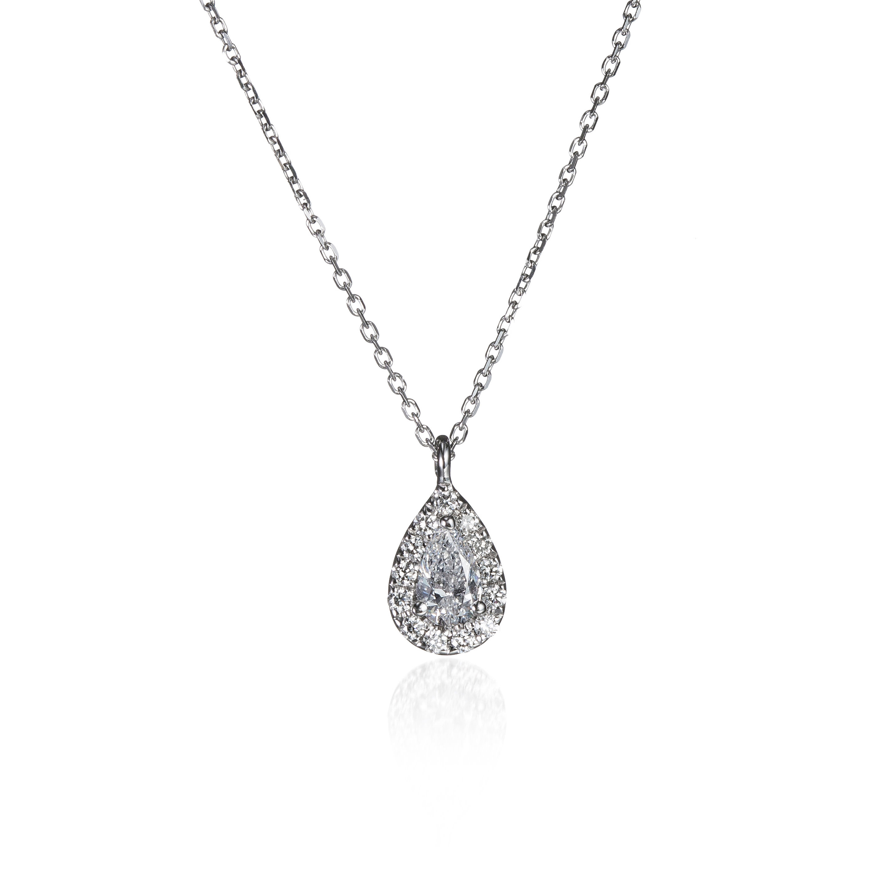Pear Shaped Halo Diamond Necklace With Most Popular Sparkling Square Halo Pendant Necklaces (View 10 of 25)