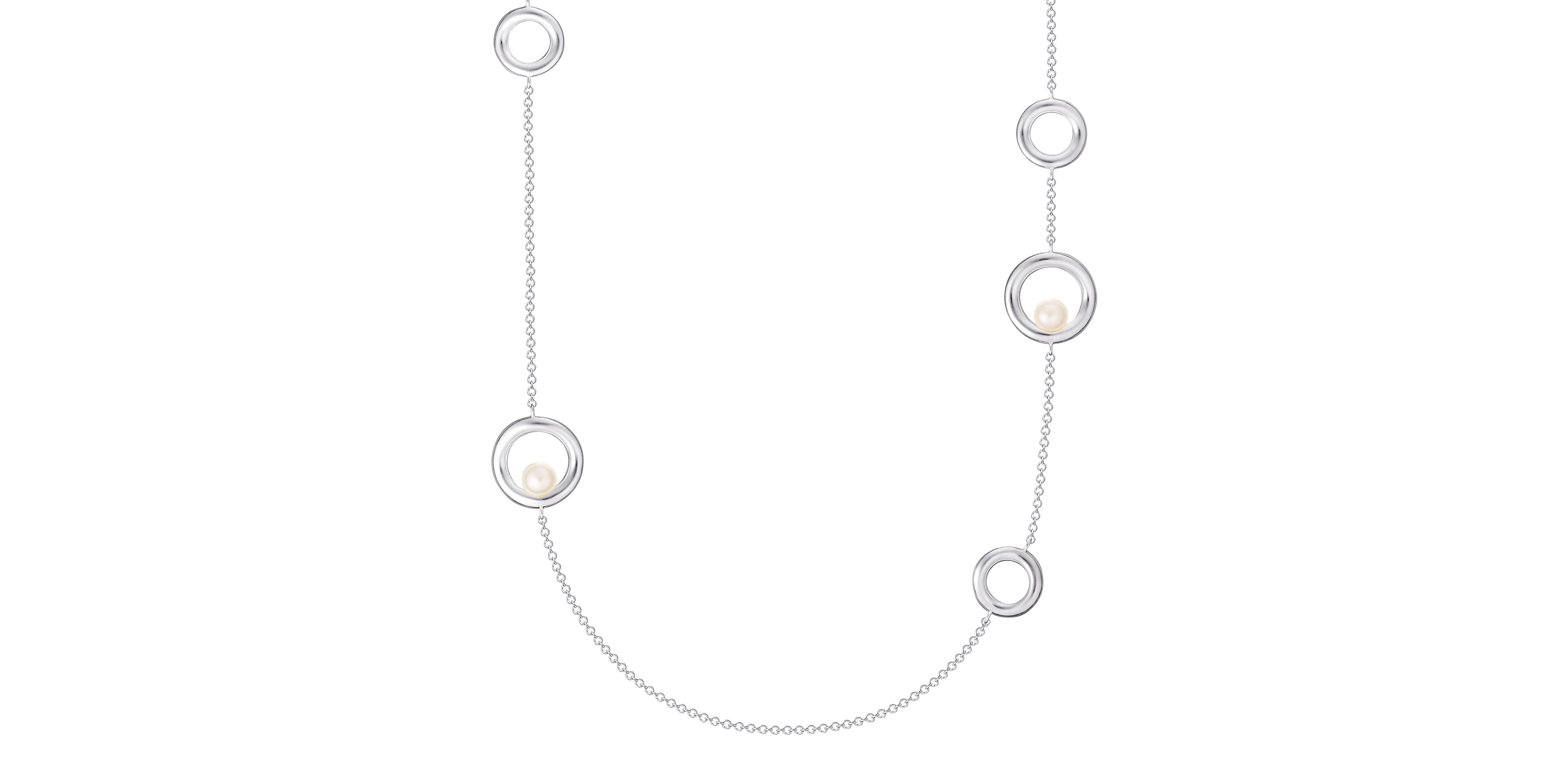 Pearl And Sterling Silver Rope Necklace With 2020 Offset Freshwater Cultured Pearl Circle Necklaces (View 4 of 25)