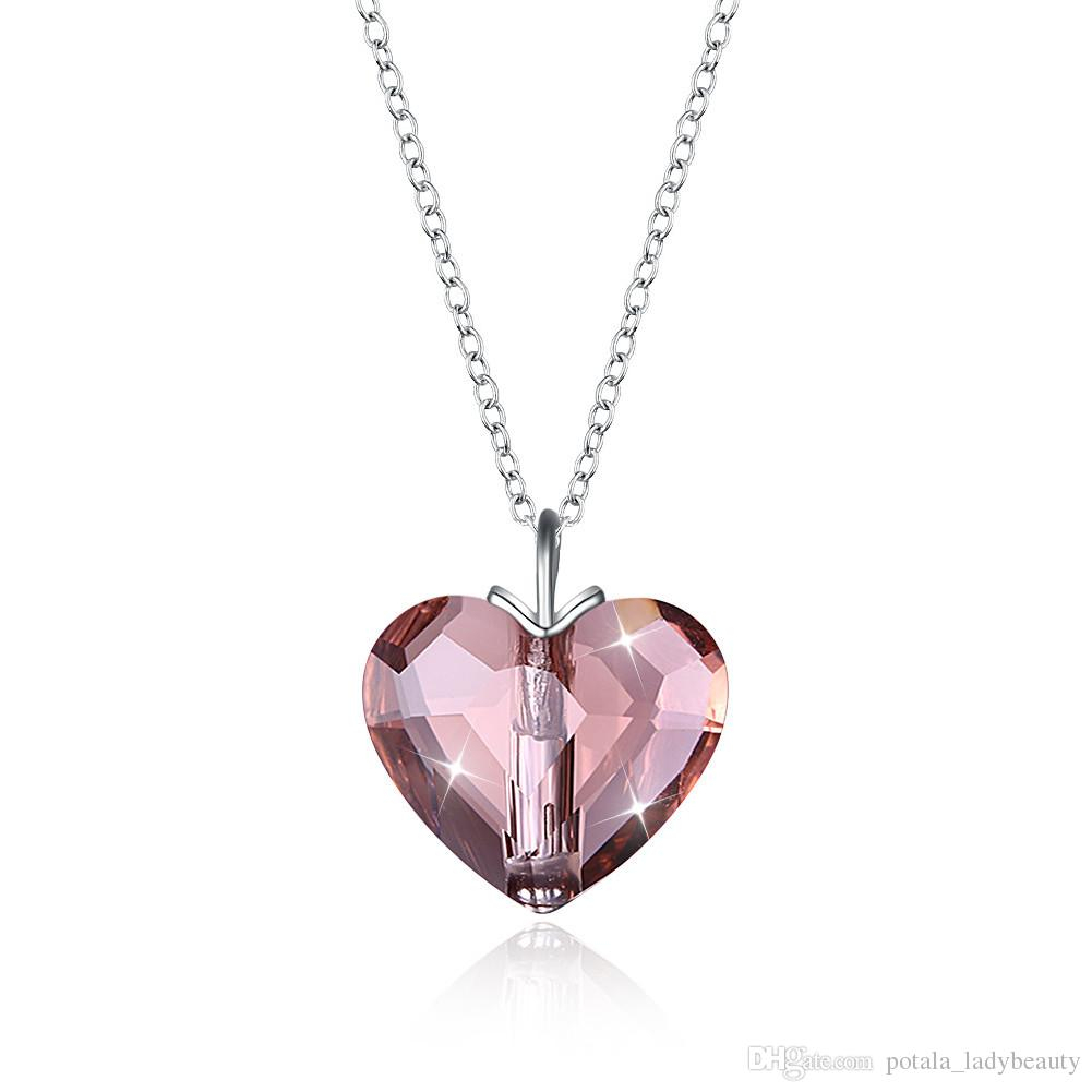 Pendant Necklaces S925 Sterling Silver Crystal From Swarovski Elements Love Heart Romantic Necklace Ladies Valentine S Day Gifts Potala328 Throughout Current Sparkling Gift Locket Element Necklaces (View 10 of 25)