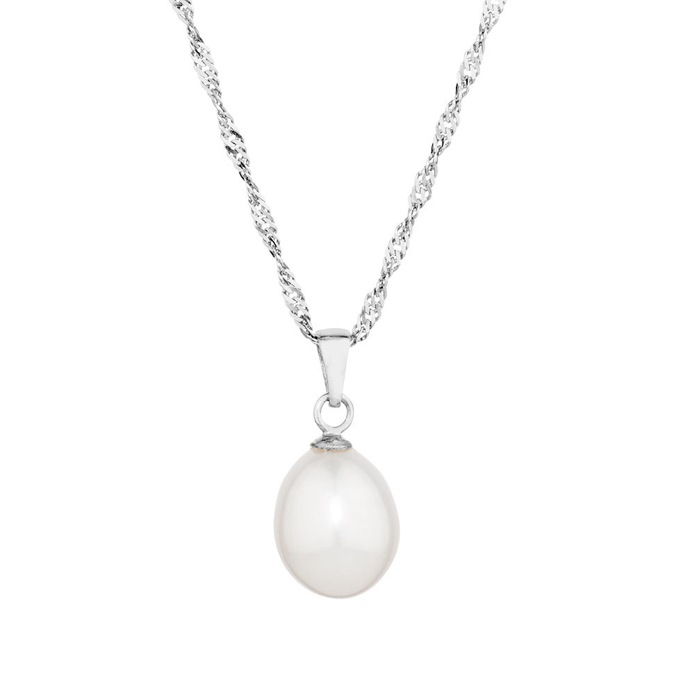Pendant With A Cultured Freshwater Pearl In Sterling Silver For Best And Newest August Droplet Pendant Necklaces (Gallery 25 of 25)