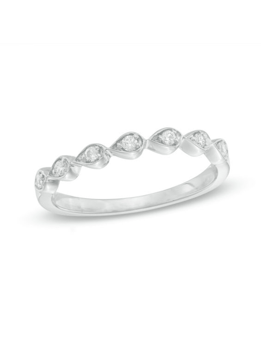 Featured Photo of Diamond Seven Stone Sideways Teardrop Anniversary Bands In White Gold