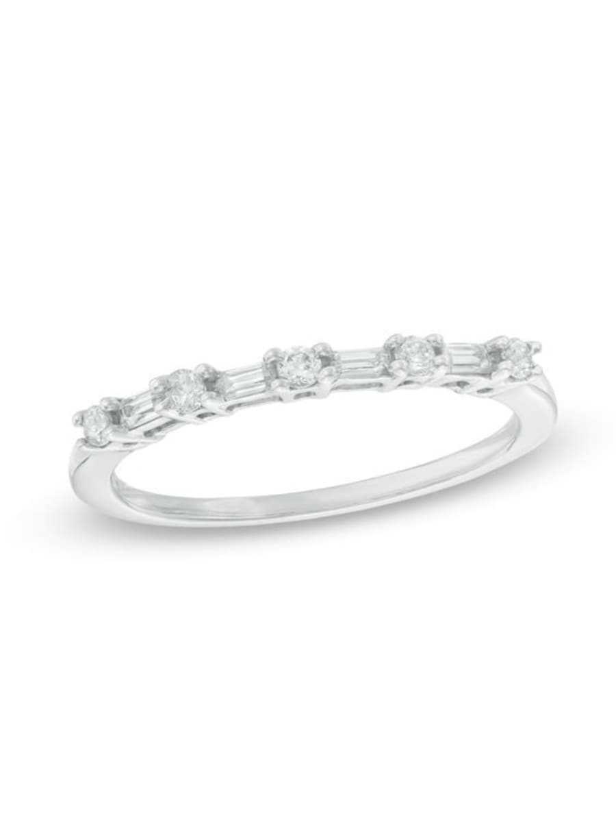 Peoples 0.18 Ct. T.w. Baguette And Round Diamond Alternating With Regard To Current Baguette And Round Diamond Alternating Vintage Style Anniversary Bands In White Gold (Gallery 11 of 25)