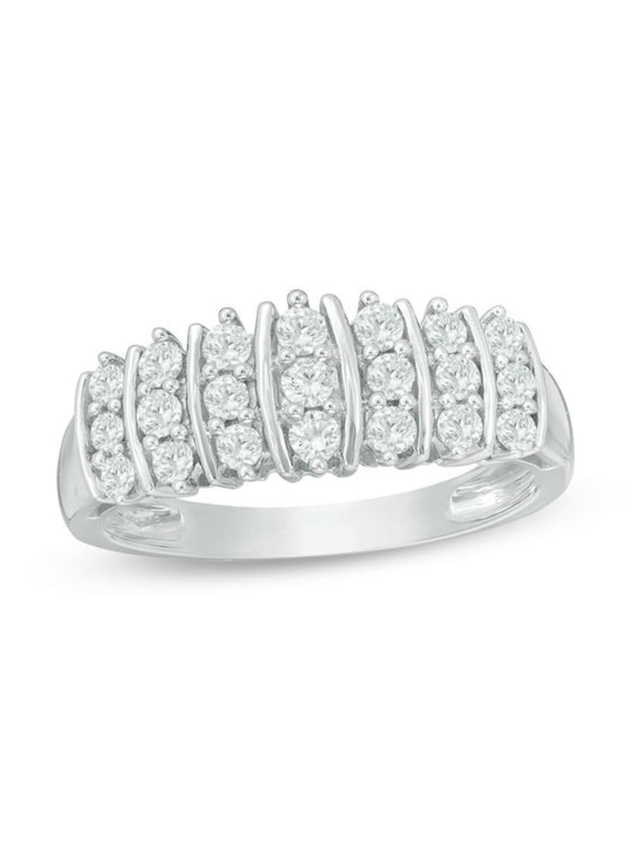 Peoples 0.50 Ct. T.w. Diamond Multi Row Anniversary Band In Inside Recent Diamond Multi Row Anniversary Bands In White Gold (Gallery 11 of 25)