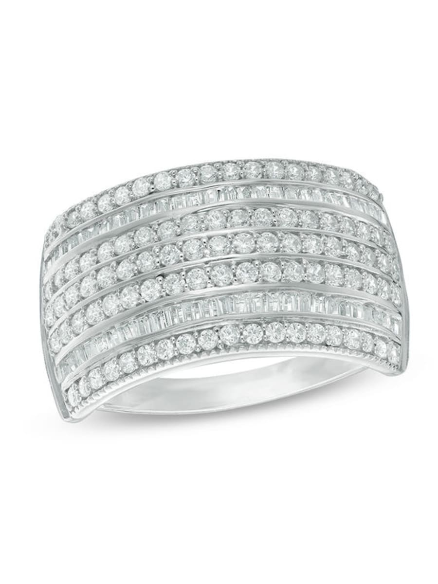 Peoples 0.95 Ct. T.w. Diamond Seven Row Anniversary Ring In For Most Current Diamond Seven Row Anniversary Rings In White Gold (Gallery 3 of 25)