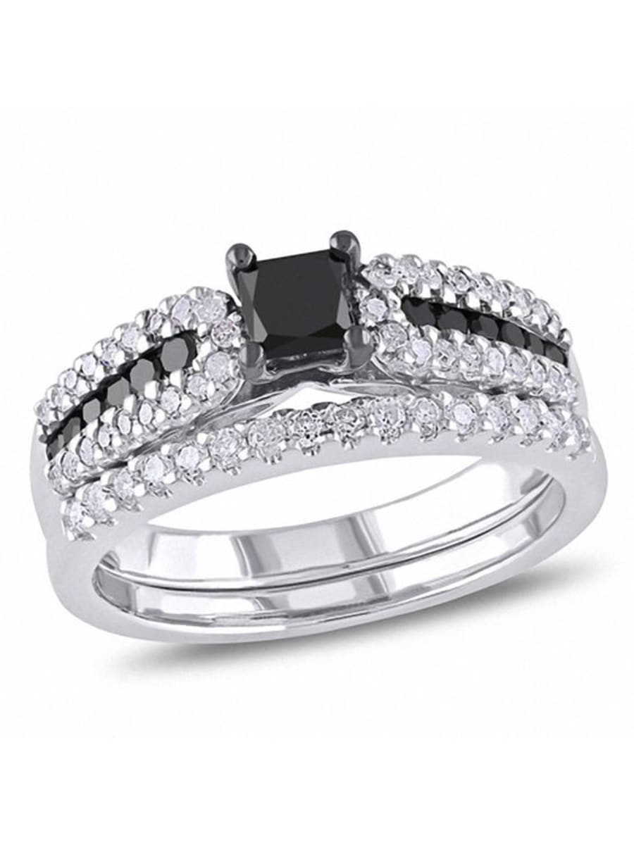 Peoples 0.98 Ct. T.w. Princess Cut Enhanced Black And White In 2020 Enhanced Black Diamond Anniversary Bands In Sterling Silver (Gallery 23 of 25)