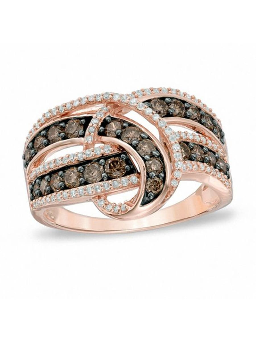 Peoples 1.00 Ct. T.w. Champagne And White Diamond Loop Ring With Regard To Most Up To Date Champagne And White Diamond Swirled Anniversary Bands In Rose Gold (Gallery 17 of 25)