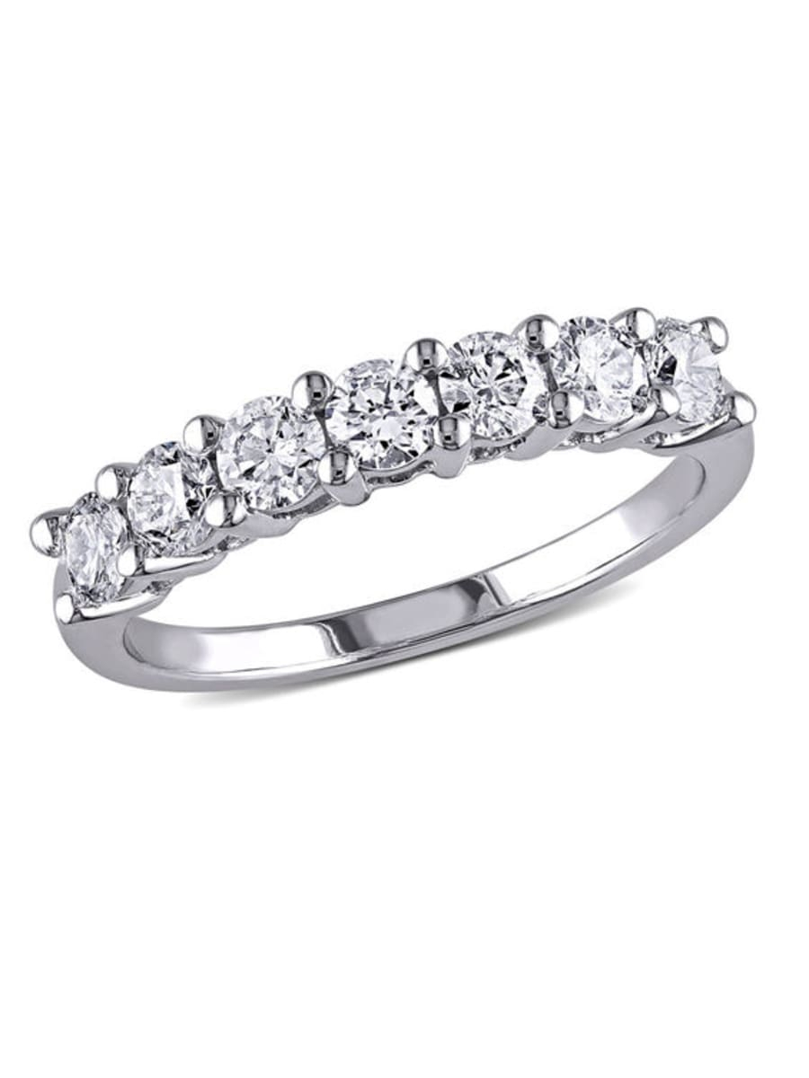Peoples 1.05 Ct. T.w. Diamond Seven Stone Anniversary Band For Latest Diamond Seven Stone Anniversary Bands In White Gold (Gallery 14 of 25)