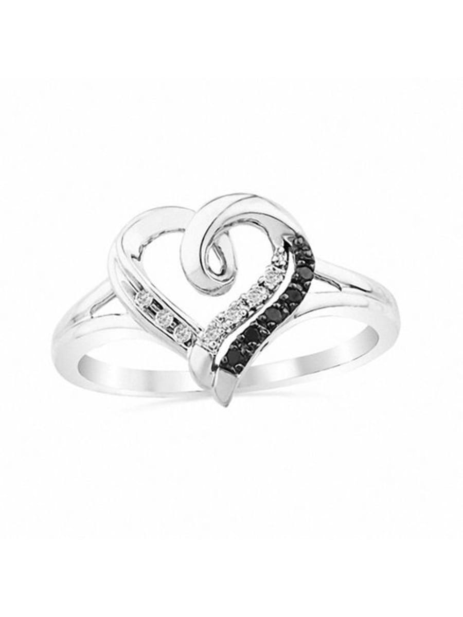 Peoples Enhanced Black And White Diamond Heart Promise Ring Pertaining To 2020 Enhanced Black And White Diamond Anniversary Bands In Sterling Silver (View 11 of 25)