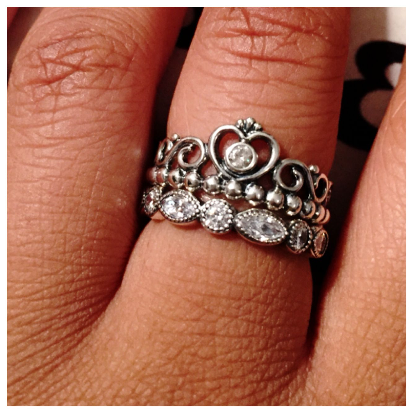 Perfect Way To Stack The Pandora Princess Ring ❤️   Pandora With Regard To Newest Clear Sparkling Crown Rings (View 19 of 25)