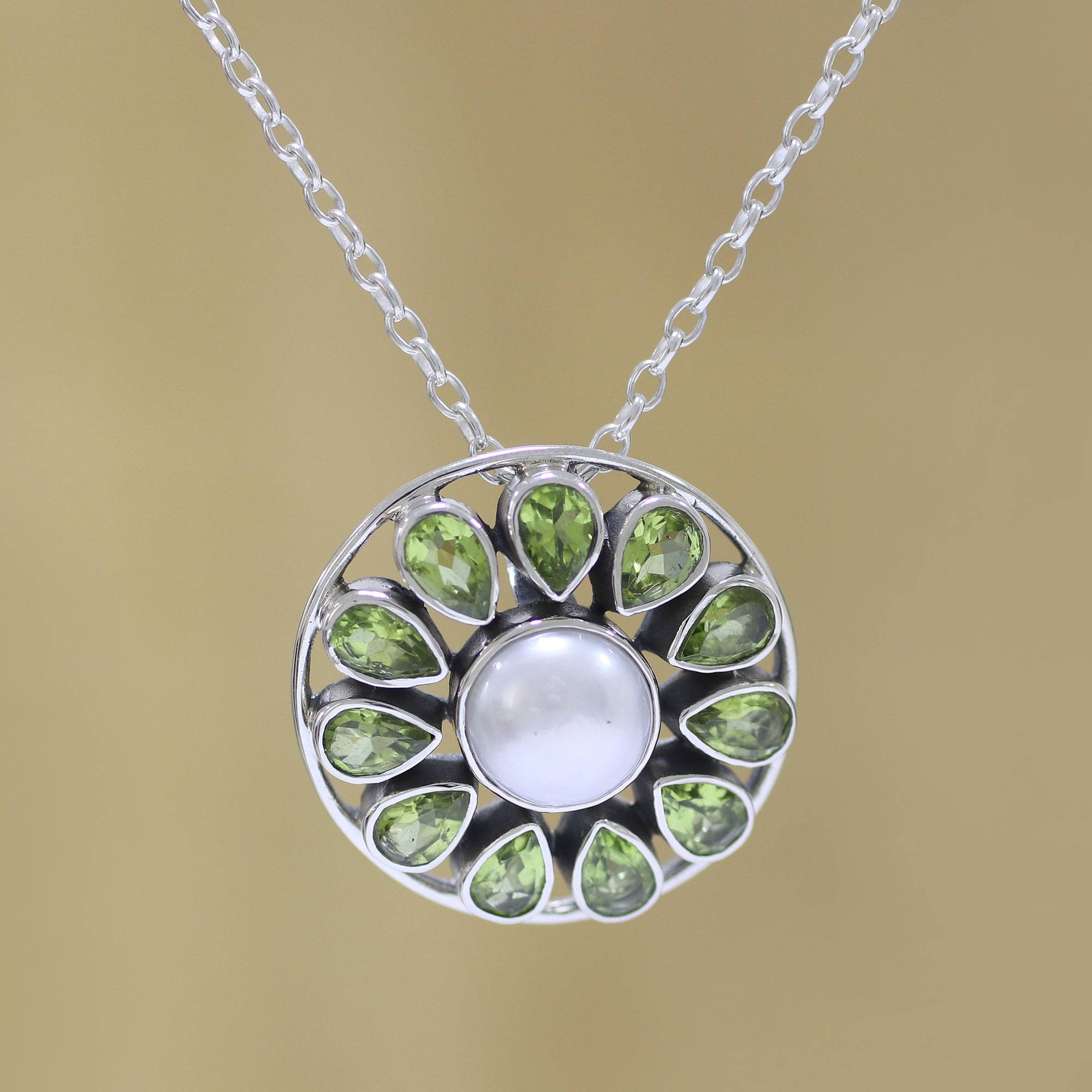 Peridot And Cultured Pearl Sterling Silver Pendant Necklace, 'peridot Petals' Pertaining To Best And Newest Offset Freshwater Cultured Pearl Circle Necklaces (View 17 of 25)