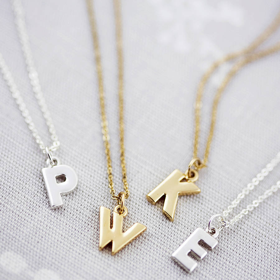 Personalised Chunky Letter Necklace Inside Newest Letter S Alphabet Locket Element Necklaces (View 13 of 25)