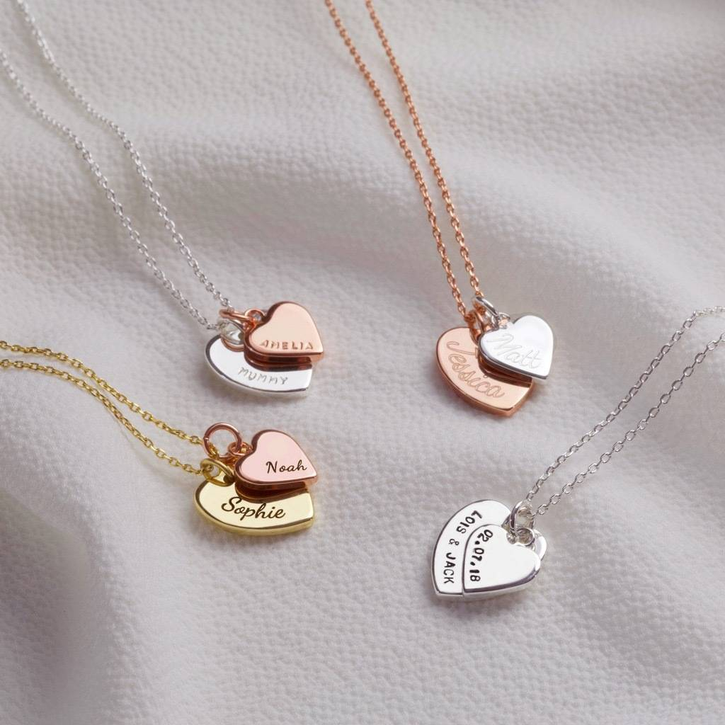 Personalised Double Heart Charm Necklace With Regard To Latest Joined Hearts Necklaces (View 7 of 25)