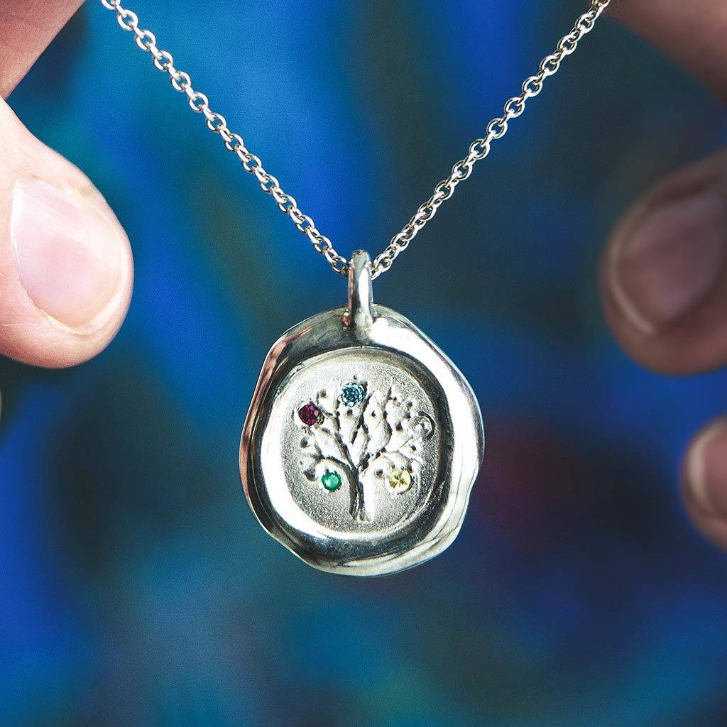 Personalised Family Tree Birthstone Pendant With Most Recently Released Family Script Locket Element Necklaces (View 12 of 25)