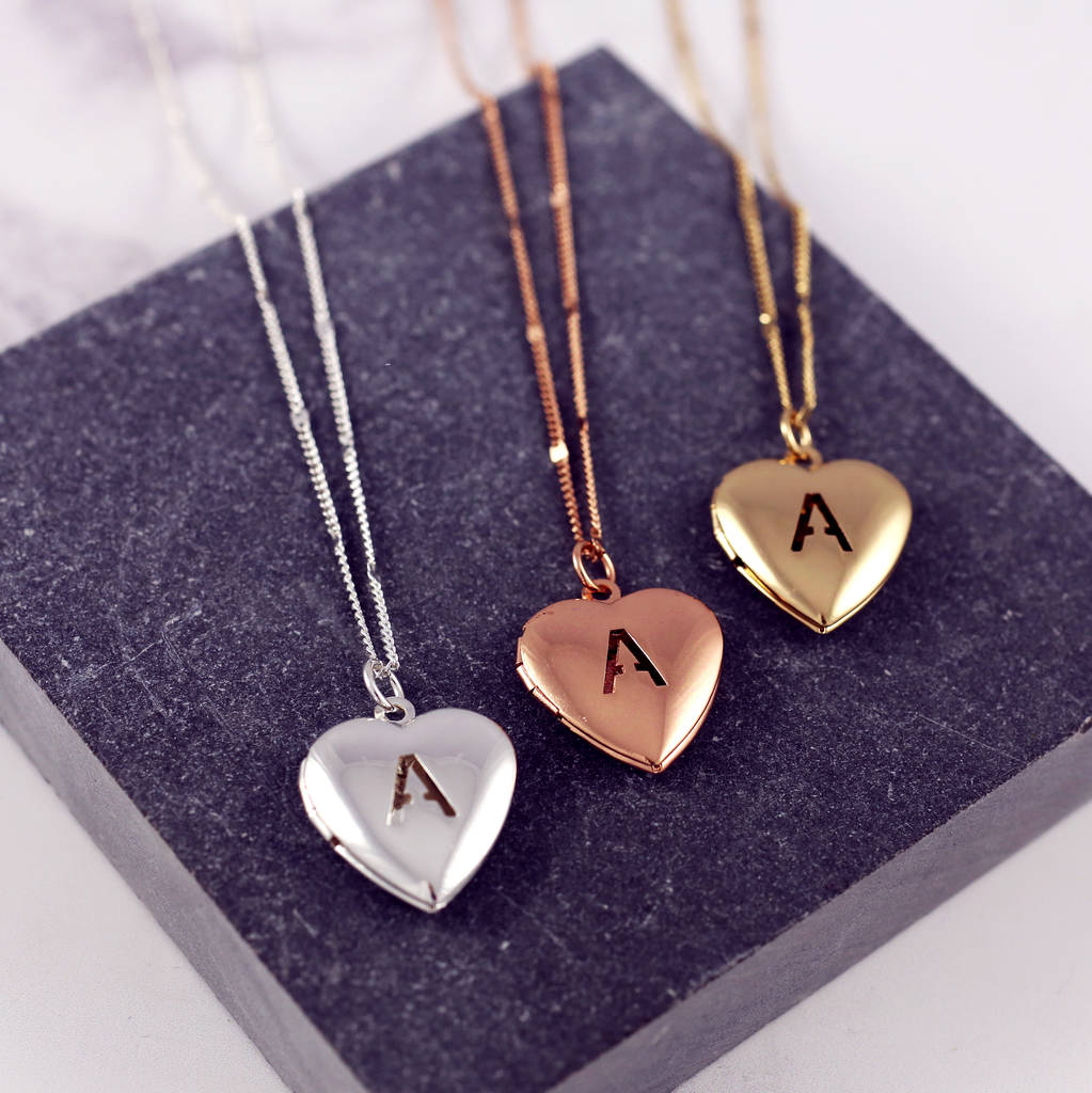 Personalised Heart Letter Locket Necklace Intended For Most Recently Released Letter E Alphabet Locket Element Necklaces (Gallery 16 of 25)