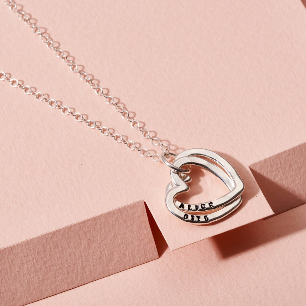 Personalised Interlinking Hearts Necklace Intended For Latest Ampersand Alphabet Locket Element Necklaces (Gallery 24 of 25)
