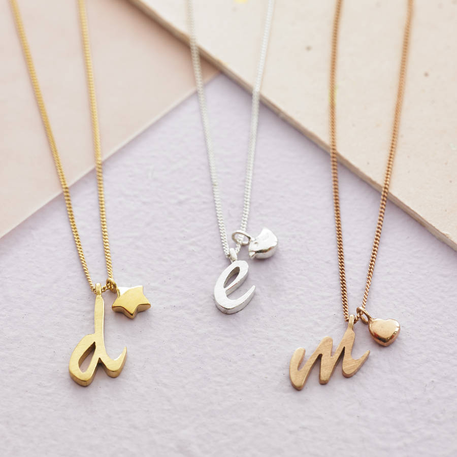 Personalised Letter Charm Necklace Pertaining To Most Recent Letter E Alphabet Locket Element Necklaces (Gallery 7 of 25)