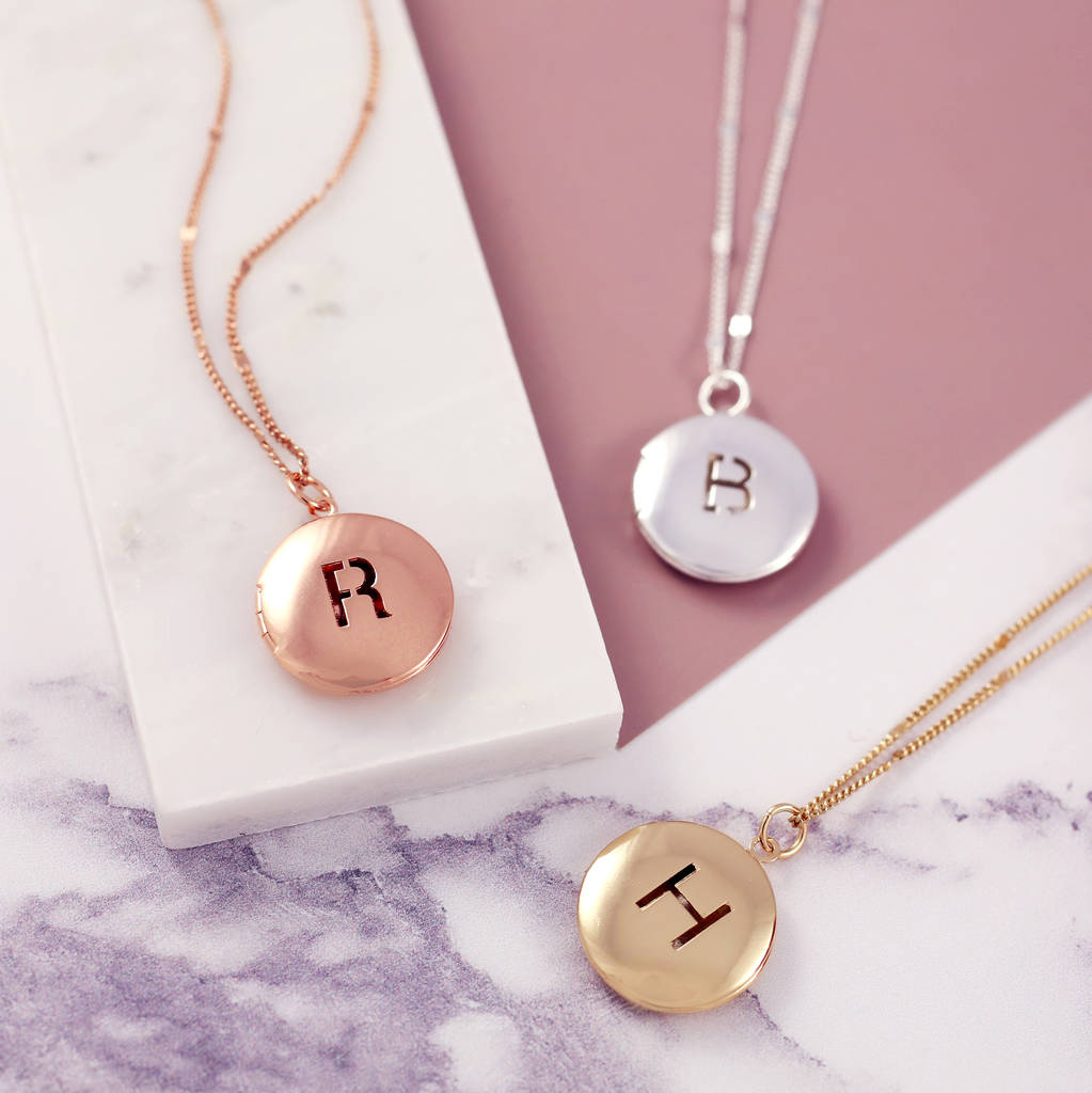 Personalised Letter Locket Necklace In Best And Newest Letter W Alphabet Locket Element Necklaces (View 18 of 25)