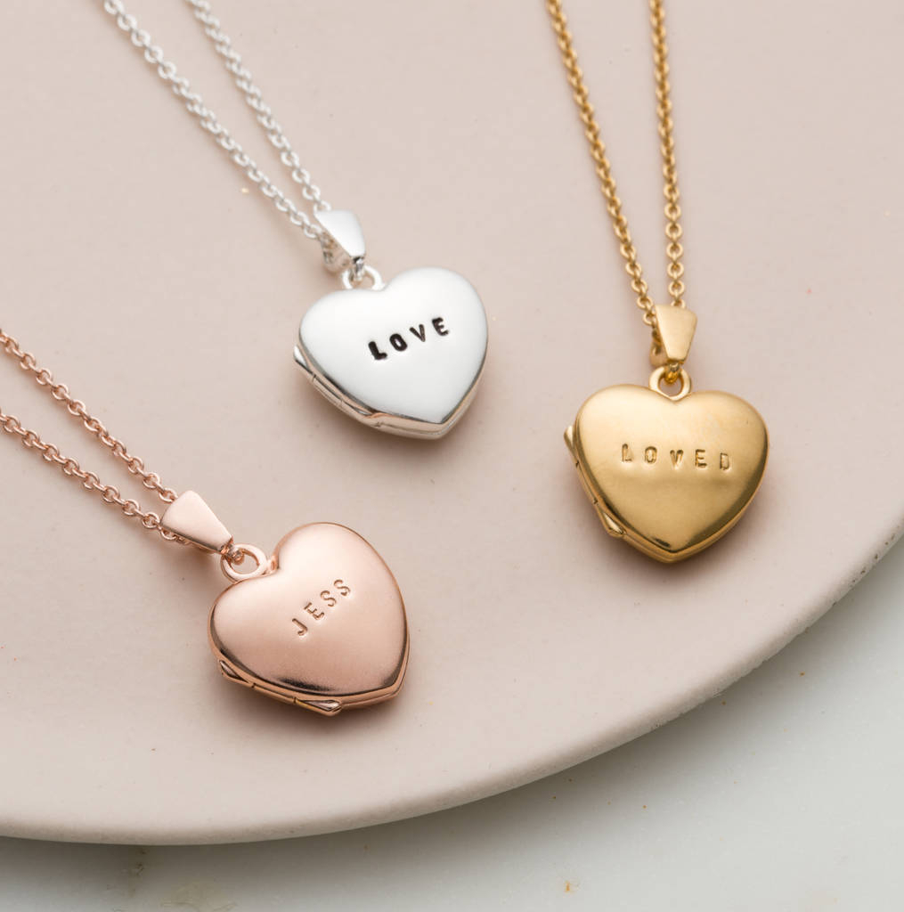 Personalised Mini Heart Locket Regarding Most Current Heart Locket Plate Necklaces (View 8 of 25)