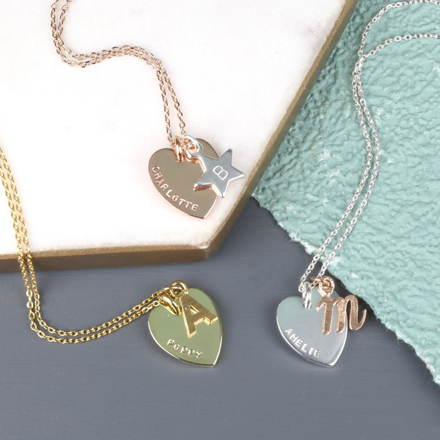 Personalised Mixed Metal Heart & Initial Charm Necklace Intended For 2019 Interlocked Hearts Locket Element Necklaces (View 12 of 25)