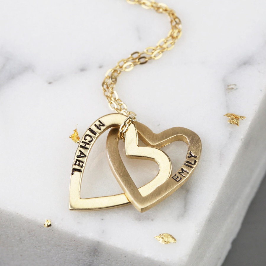 Personalised Solid Gold Interlocking Hearts Necklace In Most Popular Joined Hearts Chain Necklaces (View 8 of 25)