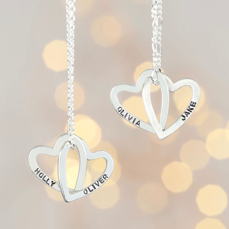 Personalised Sterling Silver Interlocking Hearts Necklace Throughout 2019 Joined Hearts Necklaces (View 19 of 25)