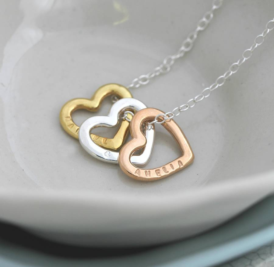 Personalised Tricolore Love Necklace Intended For 2019 Ampersand Alphabet Locket Element Necklaces (Gallery 11 of 25)
