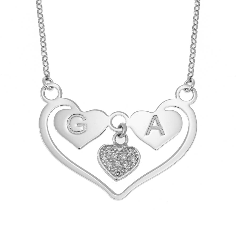 Personalized 925 Sterling Silver Heart Necklace With Initials – Solo For 2020 Knotted Hearts T Bar Necklaces (View 11 of 25)