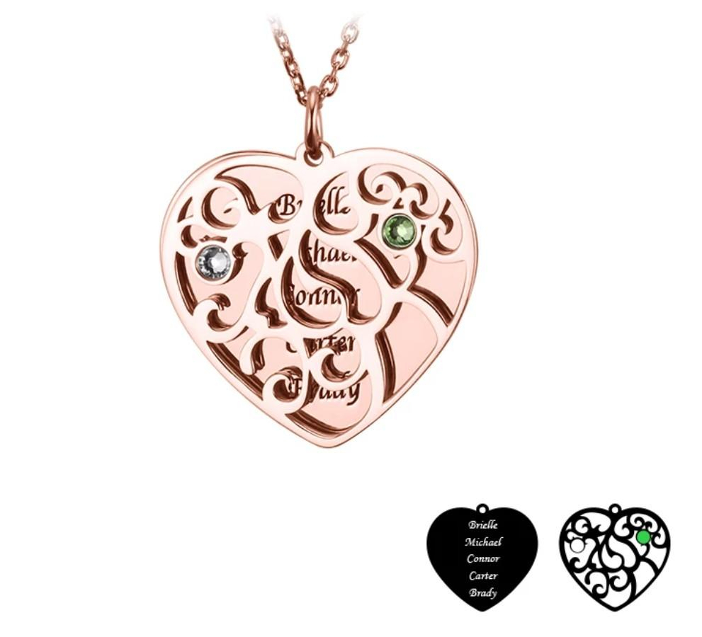 Personalized Family Tree Necklace Heart And Round Shape Best Gift In Newest Family Tree Heart Pendant Necklaces (View 18 of 25)