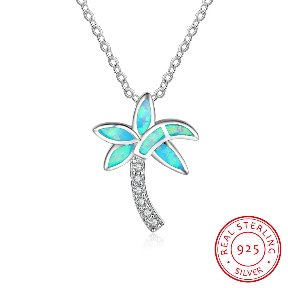Personalized Hawaiian Tropical S925 Sterling Silver Created Blue Opal Cz Diamond Coconut Palm Tree Pendant Necklace For Retails – Buy Personalized With Regard To Recent Tropical Palm Pendant Necklaces (View 17 of 25)