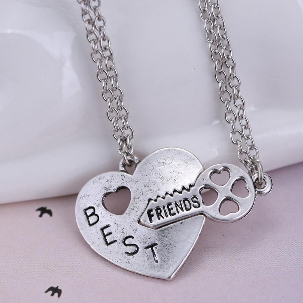 Personalized Heart Puzzle Necklace Silver Heart Lock And Key Pendant Regarding Best And Newest Best Friends Heart & Key Necklaces Pendant Necklaces (Gallery 4 of 25)