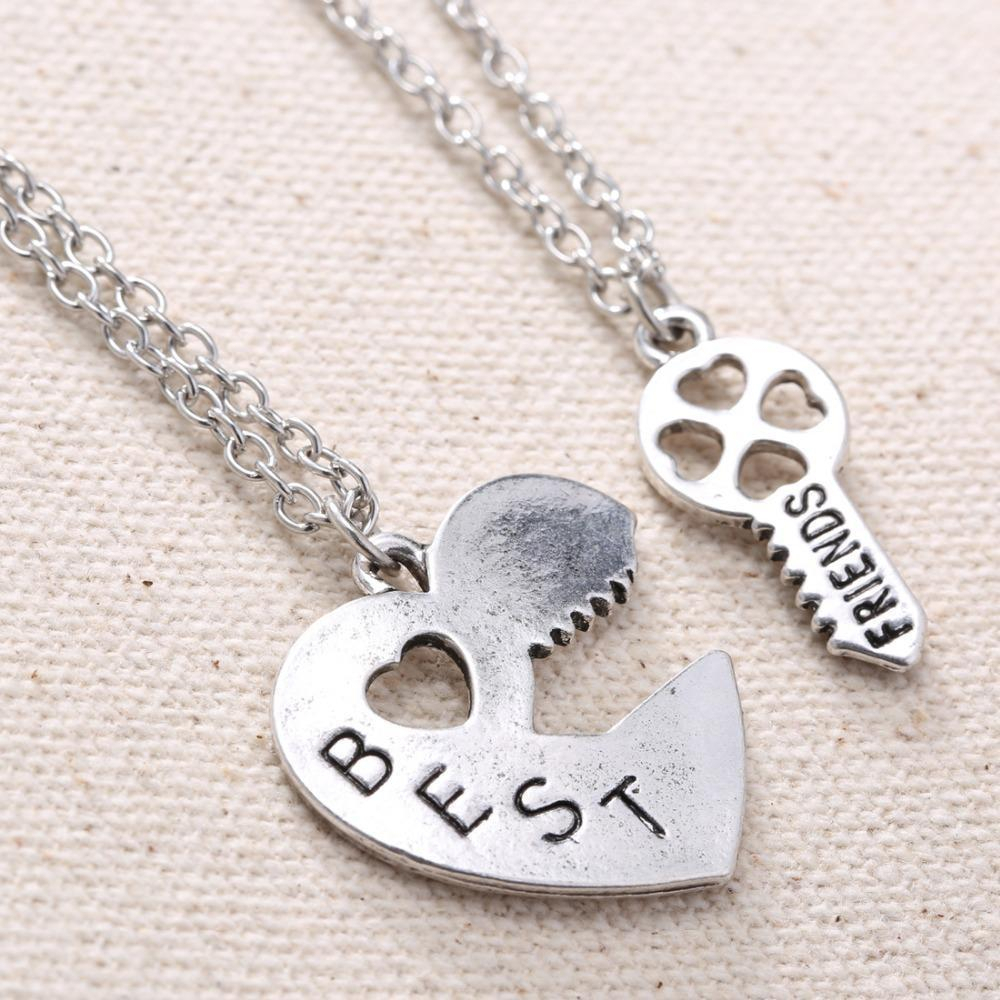 Personalized Heart Puzzle Necklace Silver Heart Lock And Key Pendant With Newest Best Friends Heart & Key Necklaces Pendant Necklaces (Gallery 7 of 25)