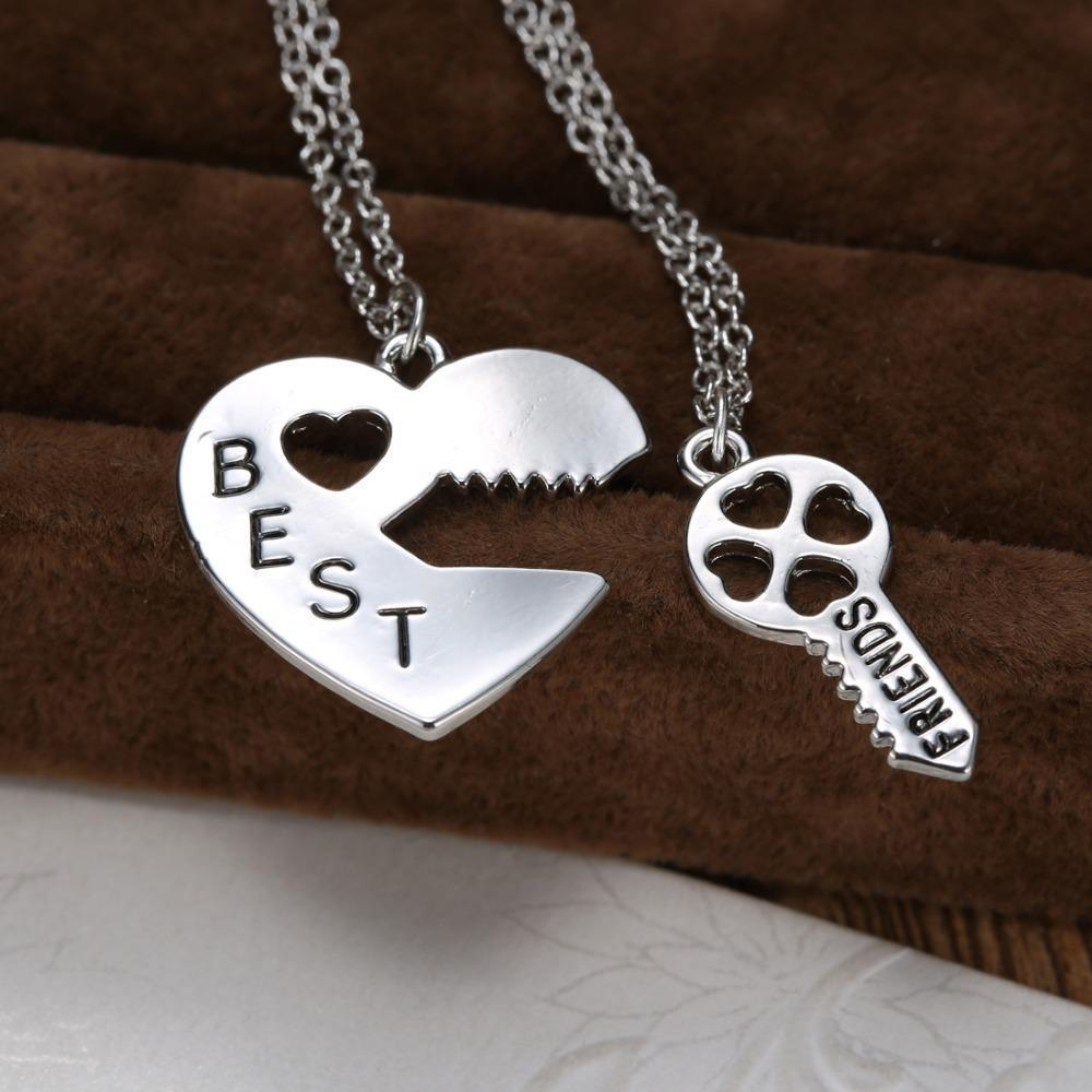 Personalized Heart Puzzle Necklace Silver Heart Lock And Key Pendant With Regard To Latest Best Friends Heart & Key Necklaces Pendant Necklaces (View 11 of 25)