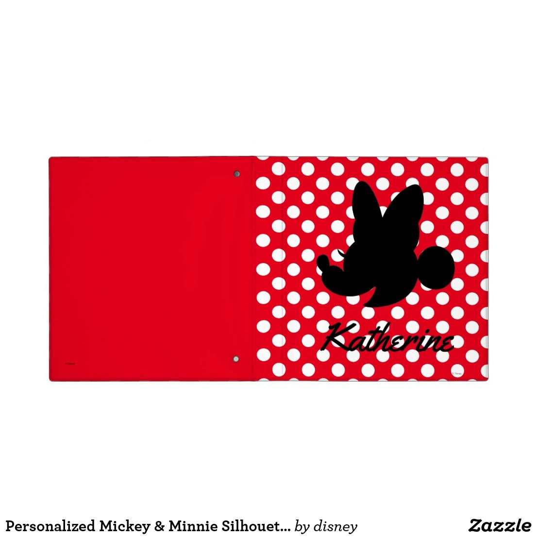 Personalized Mickey & Minnie Silhouette 3 Ring Binder | Zazzle With Recent Disney Minnie Silhouette Rings (Gallery 18 of 25)