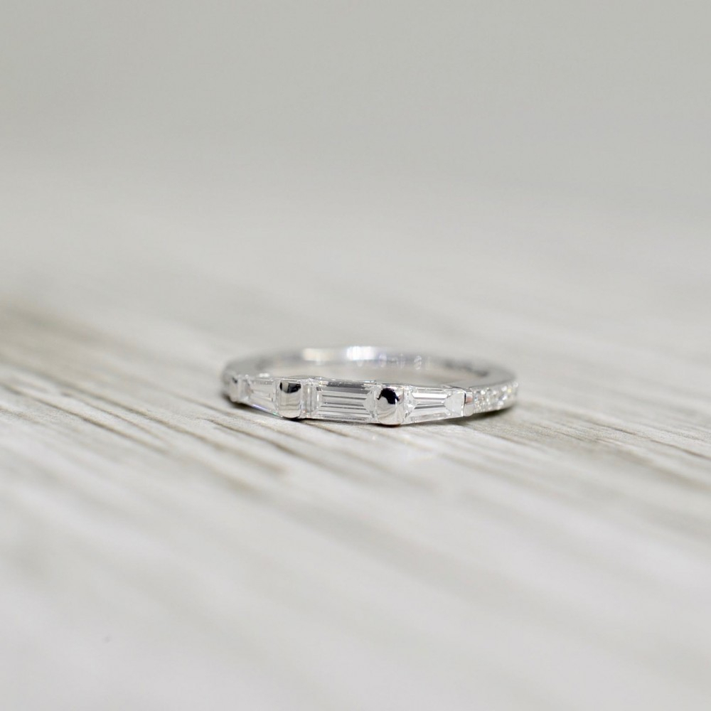 Petite Bar Channel Set Baguette And Pavé Set Round Diamond Wedding Band In  White Regarding Recent Round And Baguette Diamond Vintage Style Anniversary Bands In White Gold (View 14 of 25)